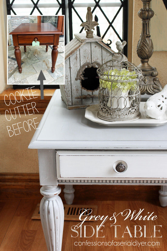 Grey and White Side Table. A cookie cutter table now looks like a high end cottage-inspired piece!