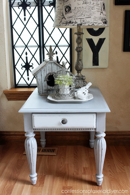 Grey And White Side Table. A Cookie Cutter Table Now Looks Like A High End