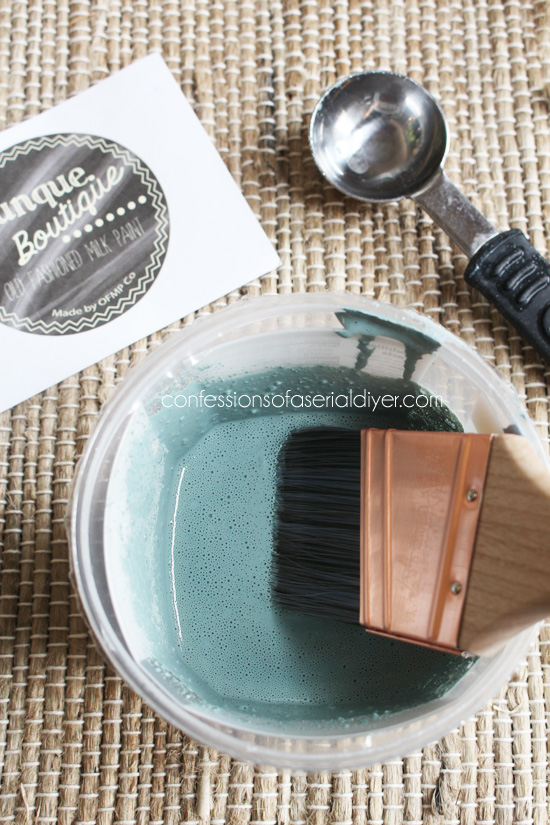 Mason Jar Blue Milk Paint from Junque Boutique