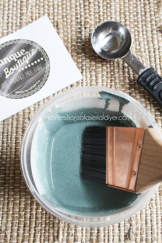 Mason Jar Blue Milk Paint from Junque Boutique