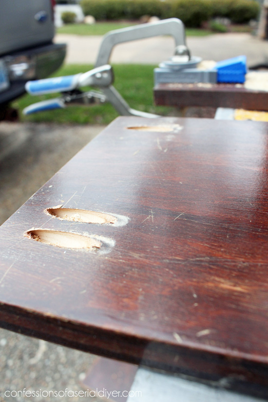 A Kreg Jig is used to join the sides to the back of this headboard bench.
