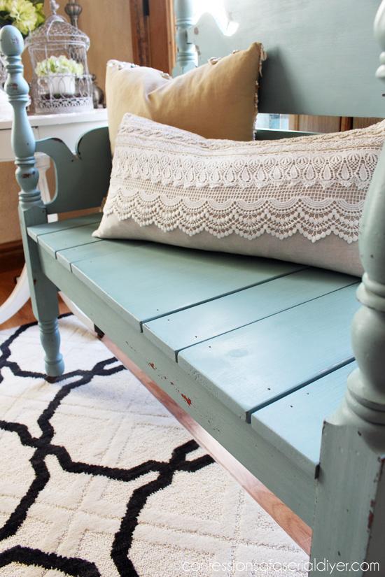 Mason Jar Blue (Junque Boutique Milk Paint) Headboard Bench