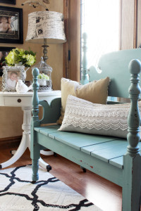 Mason Jar Blue (Junque Boutique Milk Paint) Headboard Bench from Confessions of a Serial Doi-it-Yourselfer