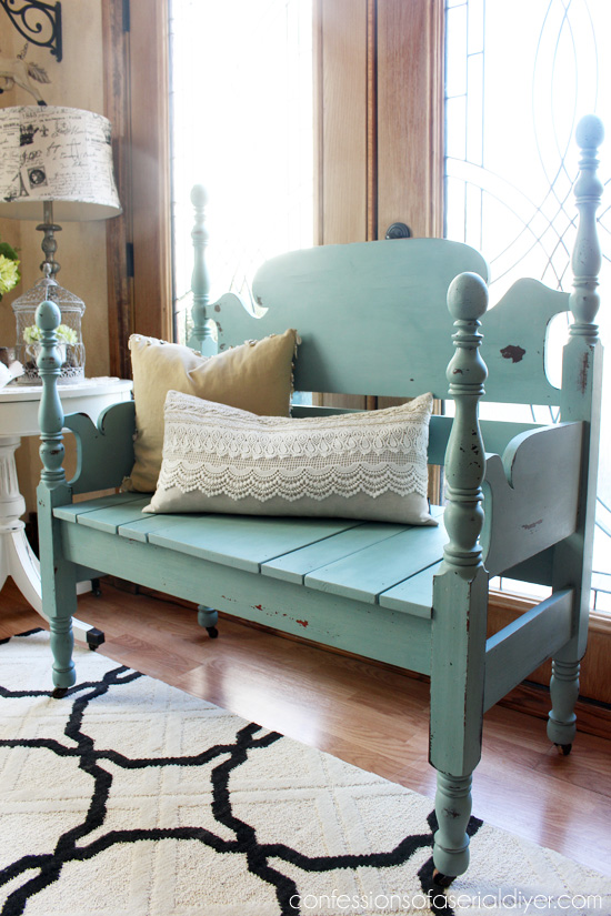 Mason Jar Blue (Junque Boutique Milk Paint) Headboard Bench from Confessions of a Serial DIYer
