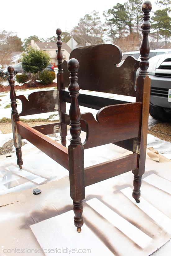 Turn a headboard into a bench!