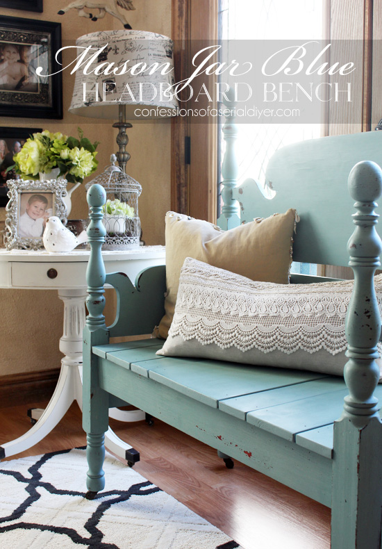 Turn a bed into a bench! This is Mason Jar Blue milk paint from Junque Boutique.