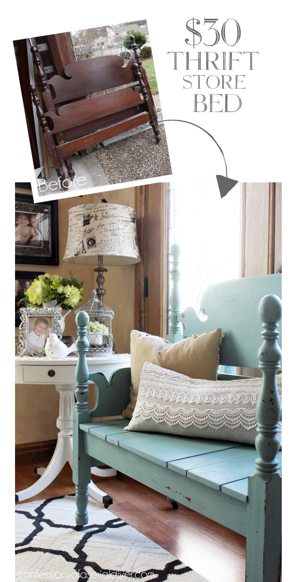 $30 Bed turned gorgeous bench with Mason Jar Blue milk paint from Junque Boutique! confessionsofaserialdiyer.com