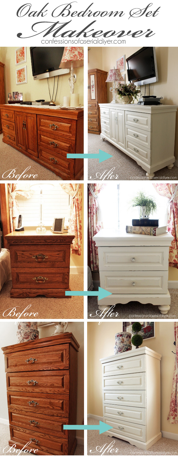 The rest of the oak bedroom set confessions of a serial do it yourselfer for How to paint my bedroom furniture
