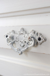 These pulls were perfect, but they had a brassy finish. Spray paint took care of that!