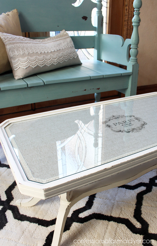 French-Inspired Coffee Table Makeover with Fabric and Lesley Riley's TAP paper