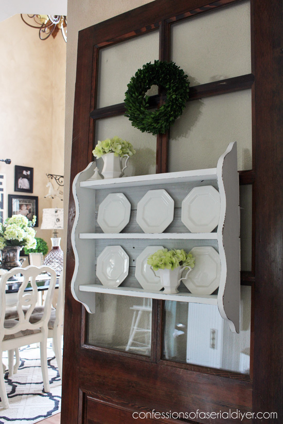 Thrift store shelf made over with old fence pickets!