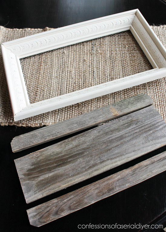 Turn a thrift store picture into a tray by painitng and adding a few old fence picket pieces to the bottom!