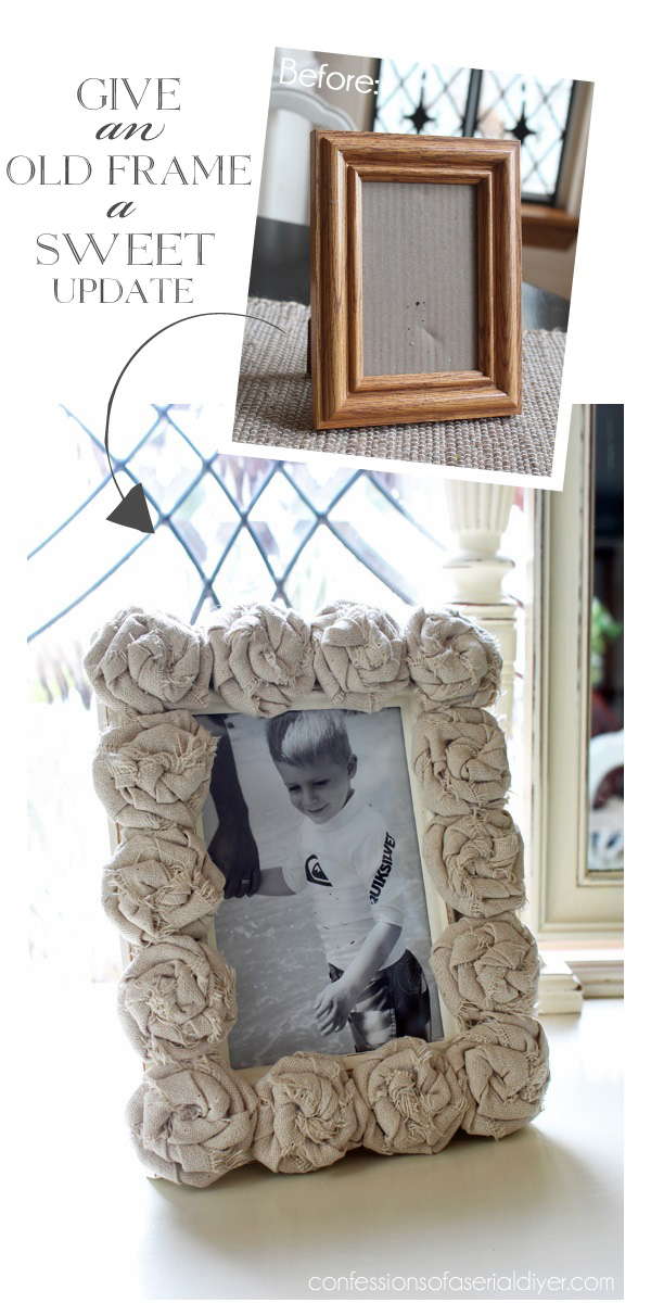 Update an old frame with these sweet rosettes. Rosette tutorial included.