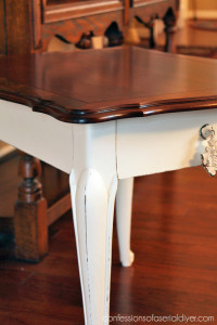 Painting the legs only adds a nice contrast while preserving the beautiful wood on top.