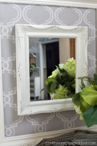 Fabric Framed Mirror from a thrift store frame and mirror!
