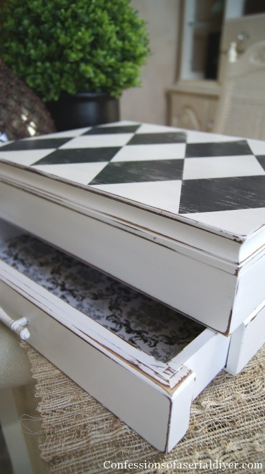 Old flatware chest gets a harlequin makeover