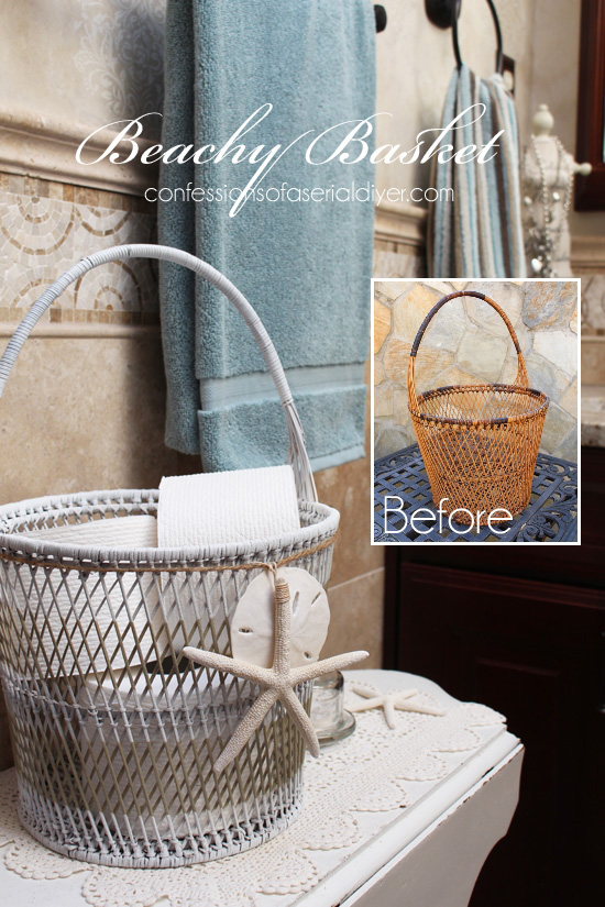 This thrift store basket was easily updated with a little spray paint!