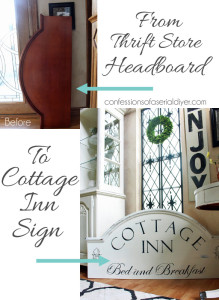 Cottage Sign from an Old Thrift Store Headboard