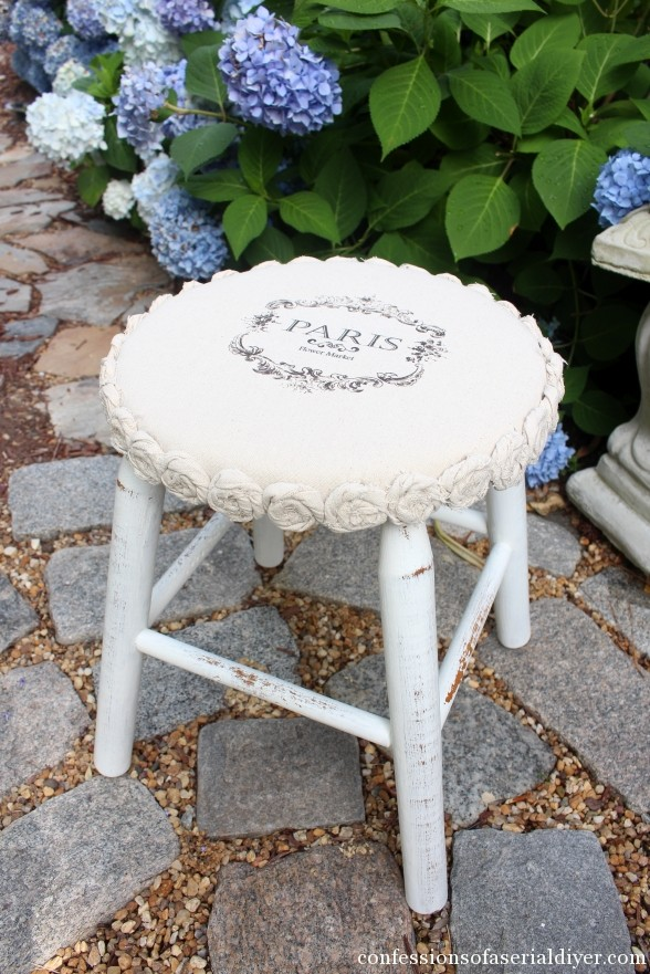 Stool trimmed in dropcloth rosettes