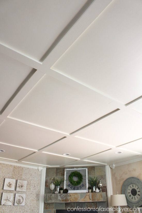 Faux coffered ceiling confessions of a serial do it for Coffered ceiling styles