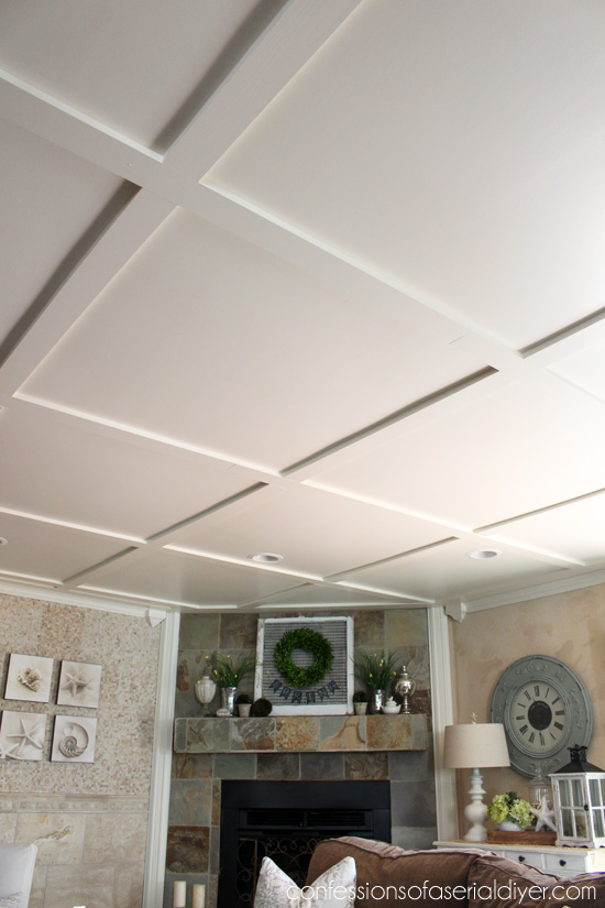 Faux coffered ceiling confessions of a serial do it for Coffered ceiling paint ideas