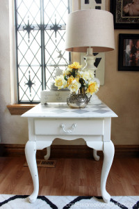 French Linen Harlequin Painted Side Table