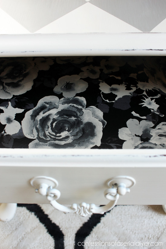 Pretty contact paper lines the drawer for a sweet surprise when it's opened!