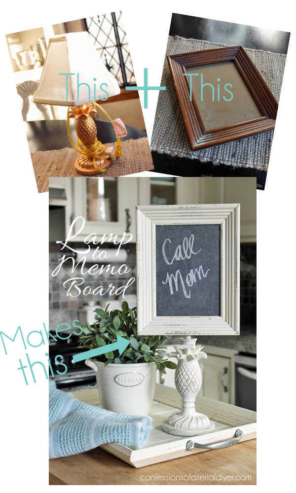 A thrift store lamp and an old frame pair up to make this super cute chalkboard message board! Confession of a Serial Do-it-Yourselfer