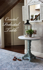 Coastal Inspired Pedestal Table in Duck Egg Blue and White