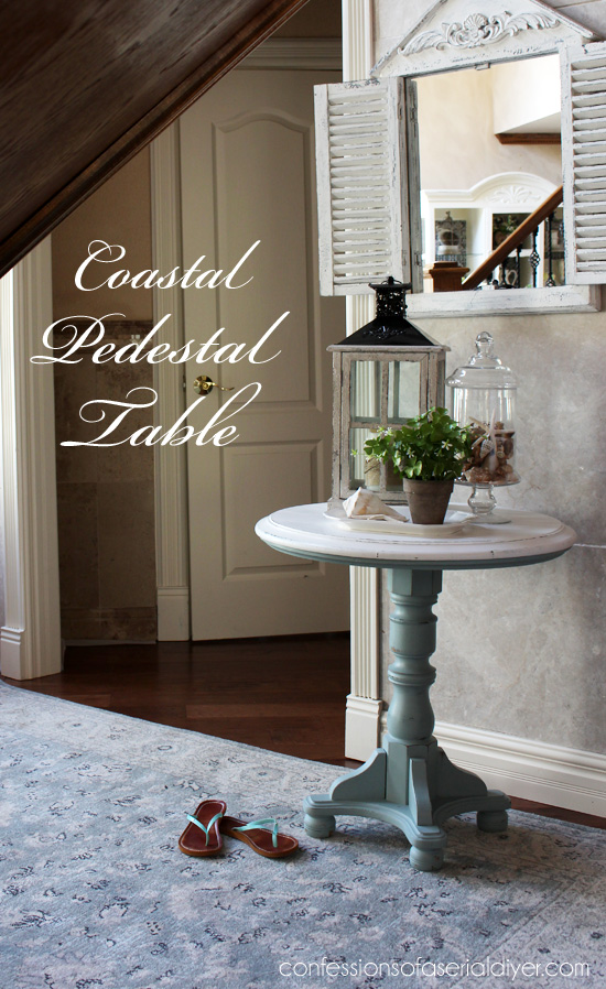 Coastal Inspired Pedestal Table using DIY chalk paint with Behr's Gray Morning and white.