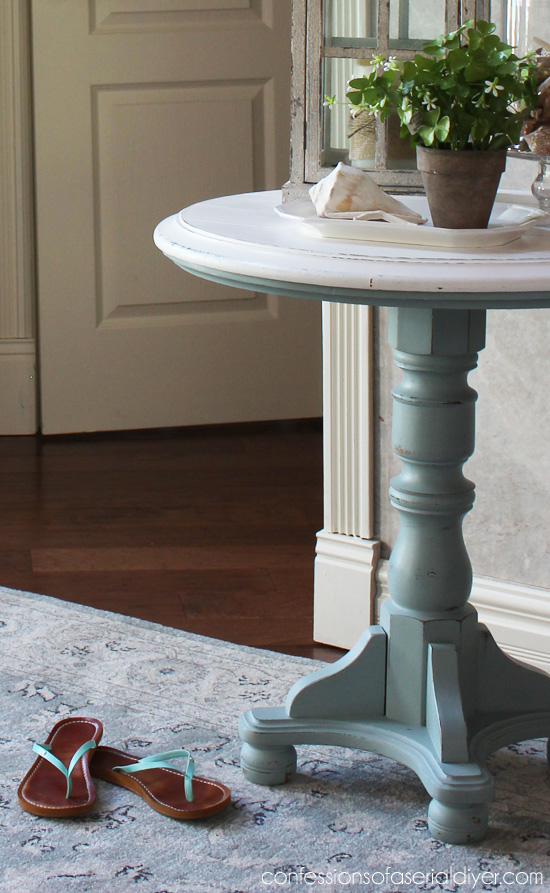 Coastal Inspired Pedestal Table Using DIY Chalk Paint With Behru0027s Gray  Morning And White.