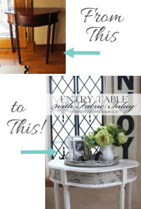 Entry Table updated with Chalk Paint and Fabric Inlay