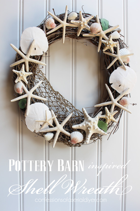 Pottery Barn Inspired Shell Wreath Confessions Of A