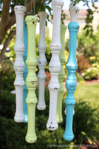 These wind chimes were created using old spindles