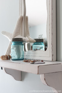 Cottage-Inspired Mirror with Shelf from Thrifty Finds
