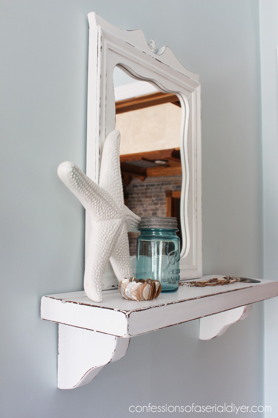 Cottage-Inspired Shelf with Mirror from thrifty finds