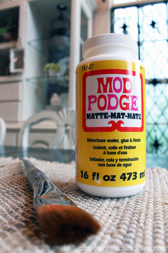 Mod podge is perfect for adding fabric!