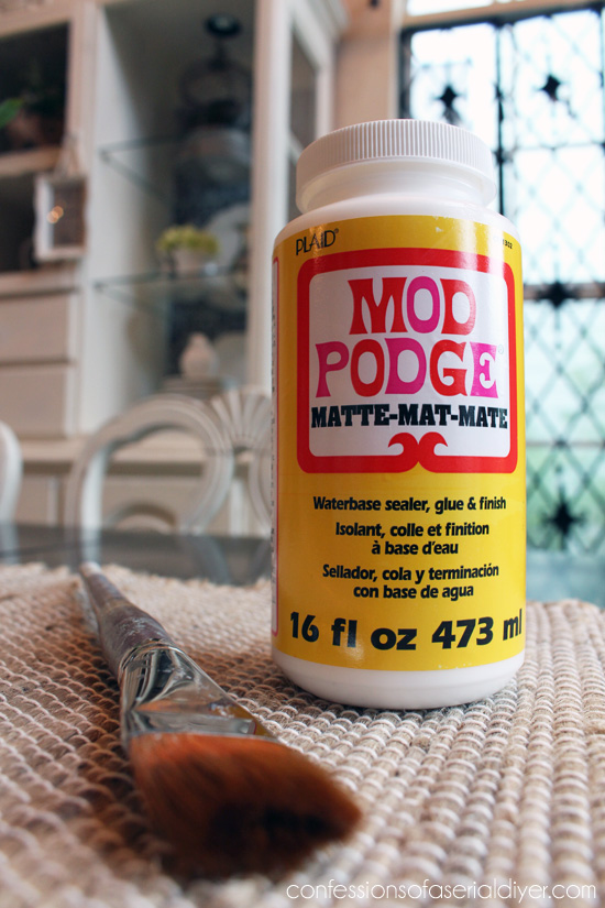 Matte Mod Podge is perfect for adding fabric to furniture pieces!