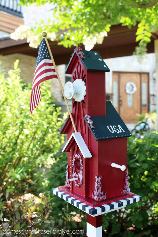 Patriotic Birdhouse from a $2 thrift store find