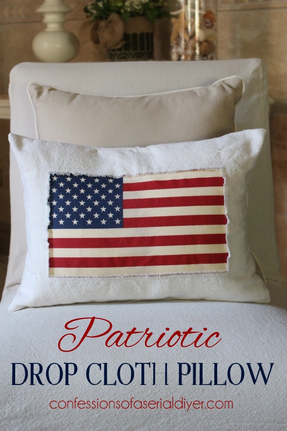 Patriotic Dropcloth Pillow