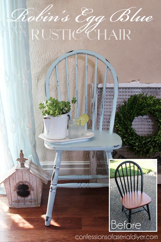 Robin's Egg Blue Chair Makeover