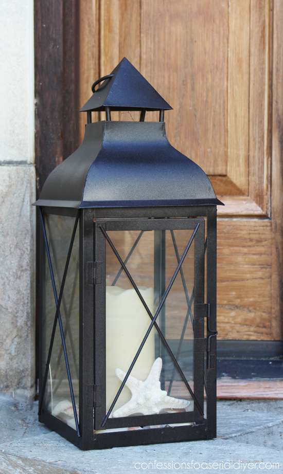 pdate an old faded lantern with a little spray paint!