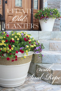 Planters Updated with Spraypaint and Sisal Rope