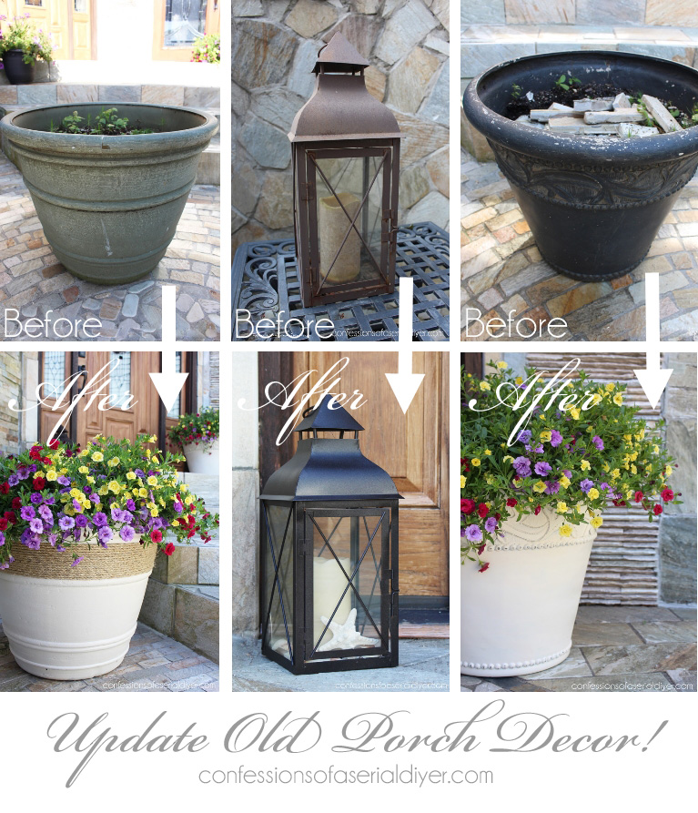 Update tired porch decor and give it new life with spray paint!