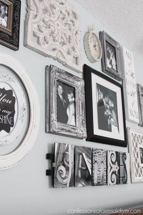 To create my wall, I gathered several pieces. Mostly frames and a few other things, and I arranged them on the floor until I was happy: