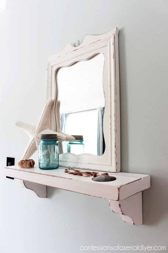 Shelf and mirror combo from yard sale parts.