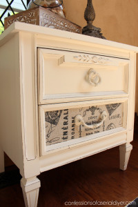 This little thrift store piece was the perfect candidate for a little paint and fabric!