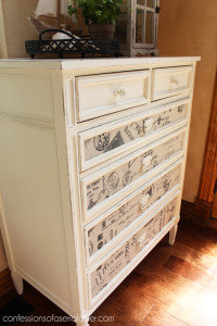 This thrifty dresser got a whole new look with some paint and fabric!