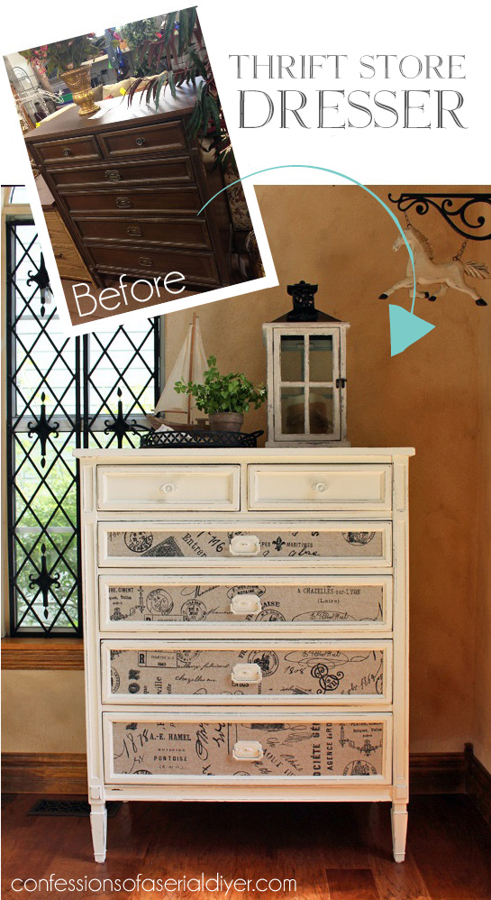Dresser makeover with fabric inlaid drawers from confessionsofaserialdiyer.com
