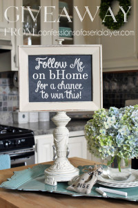 Earn a chance to win this one-of-a-kind memo board made from upcycled treasures, by following me on bHome!